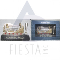 NIAGARA FALLS 2-TONE NAME CARD HOLDER WITH PEN HOLDER IN BLUE GIFT BOX