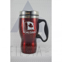 CALGARY RED STAINLESS STEEL MUG 16 OZ. WITH HANDLE