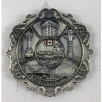 VANCOUVER METAL NICE ROUND PLATE WITH LANDMARKS IN ACRYLIC BOX