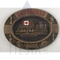 VANCOUVER METAL OVAL PLATE WITH LANDMARKS IN ACRYLIC BOX