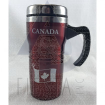CANADA STAINLESS STEEL COFFEE MUG WITH HANDLE 16 OZ. RED