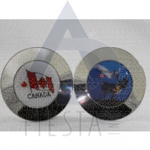CANADA ROUND 8.5 CM METAL PLATE WITH STAND IN ACRYLIC BOX ASSORTED