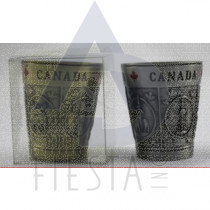 CANADA METAL SOUVENIR SHOT GLASS WITH ASSORTED OBJECTS IN ACRYLIC BOX
