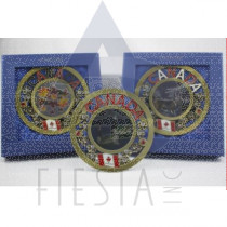 CANADA ROUND 12.5 CM METAL PLATE WITH STAND ASSORTED IN BLUE GIFT BOX