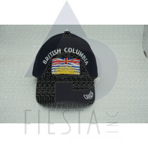"""BRITISH COLUMBIA CAP WITH RECTANGLE FLAG AND """"CANADA"""" ON VISOR ASSORTED COLORS"""