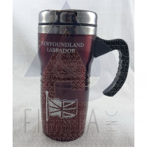 NEWFOUNDLAND LABRADOR STAINLESS STEEL TALL COFFEE MUG WITH HANDLE 16 OZ. RED
