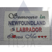 "NEWFOUNDLAND LABRADOR POSTCARD ""SOMEONE LOVES ME"""