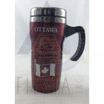 OTTAWA RED STAINLESS STEEL MUG WITH HANDLE 16 OZ.