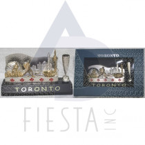 TORONTO 2-TONE NAME CARD HOLDER WITH PEN HOLDER IN BLUE GIFT BOX