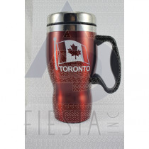 TORONTO RED STAINLESS STEEL MUG 16 OZ. WITH HANDLE
