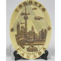 TORONTO OVAL POLY DISH WITH STAND IVORY/GOLD