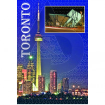 TORONTO POSTCARD NIGHT VIEW OF DOWNTOWN TORONTO AND ROM
